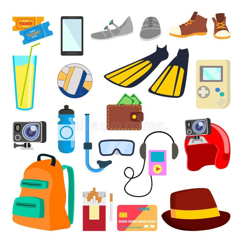 Vettore delle icone di viaggio Giovani adulti feste, vacanza Oggetti di turismo, oggetti Illustrazione piana isolata del fumetto royalty illustrazione gratis