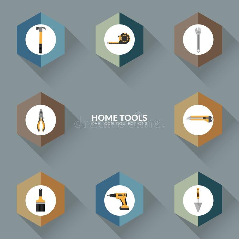 Vettore delle icone per l'insieme domestico della raccolta dell'icona degli strumenti di riparazione illustrazione vettoriale