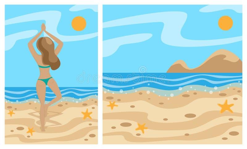 Vettore delle illustrazioni di estate Spiaggia e mare Ragazza che fa yoga sulla spiaggia Insieme delle bandiere illustrazione vettoriale