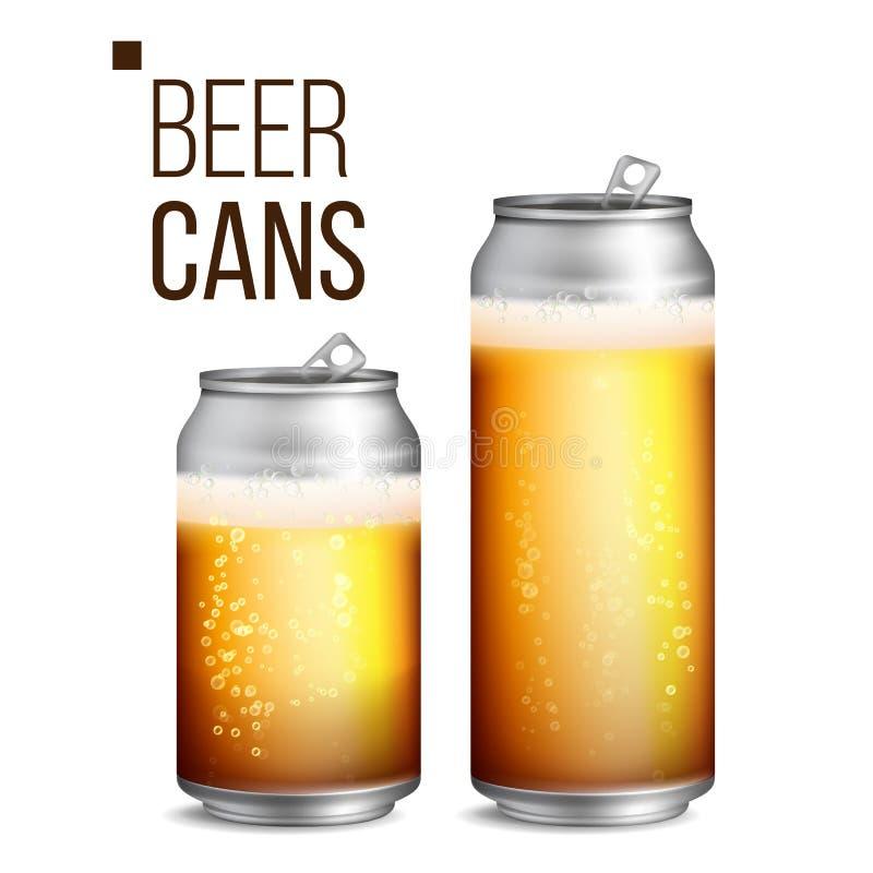 Vettore delle latte di birra 500 e 330 ml possono soppressione Struttura del fondo della birra con schiuma e le bolle Illustrazio illustrazione di stock