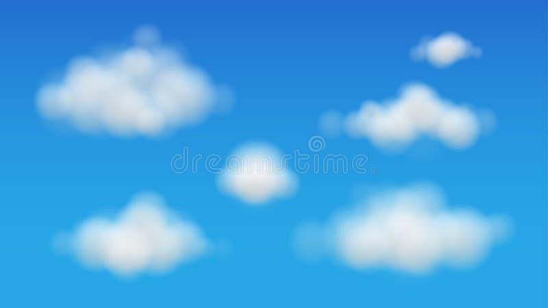 Vettore delle nuvole su cielo blu illustrazione di stock