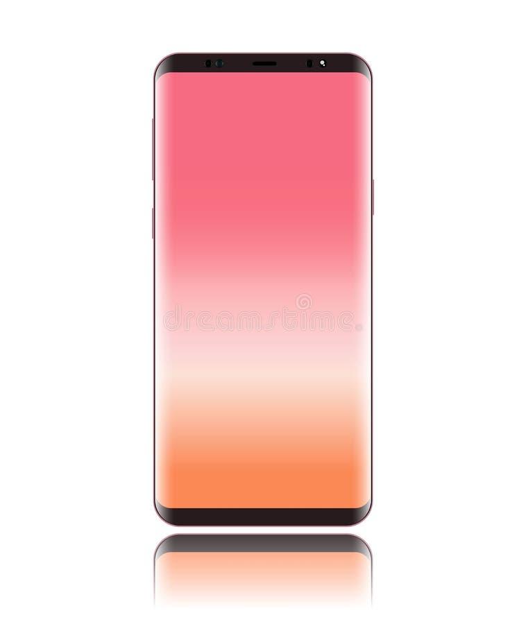 Vettore dello Smart Phone con colore dell'oro della rosa di rosa dello schermo e di rosa del corpo isolato su fondo bianco royalty illustrazione gratis