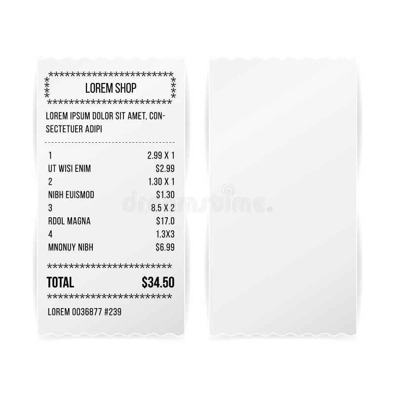 Vettore dello spazio in bianco stampato vendite del Libro Bianco della ricevuta Ricevuta o Bill Isolated On White Background del  illustrazione di stock