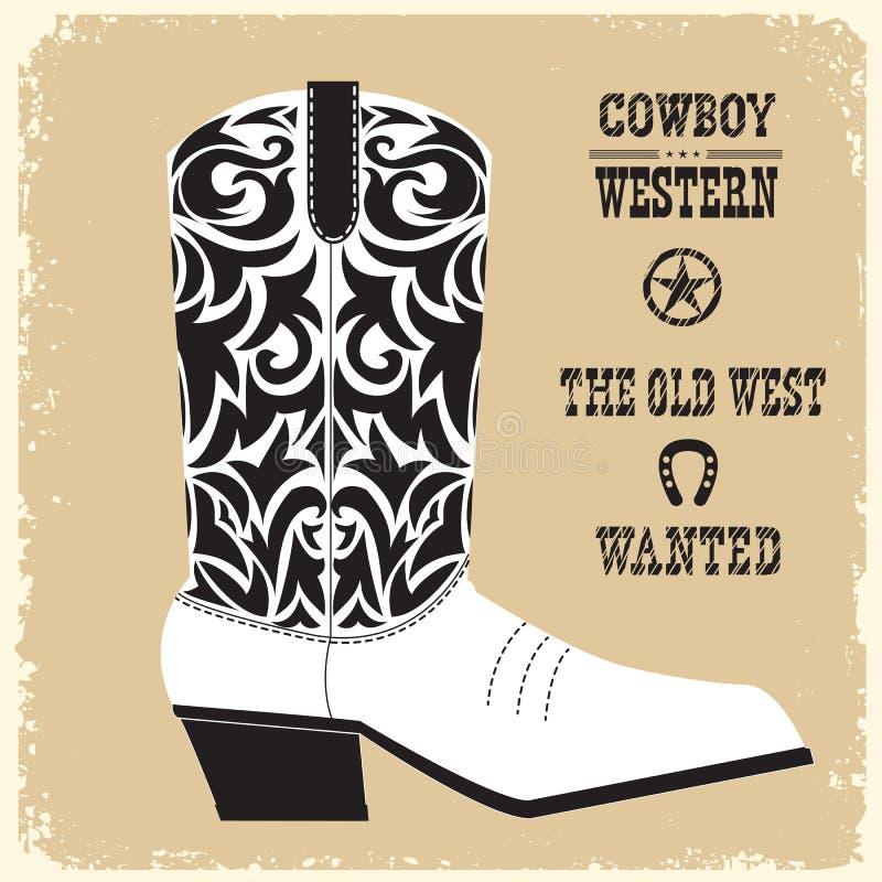 Vettore dello stivale di cowboy isolato per progettazione illustrazione vettoriale