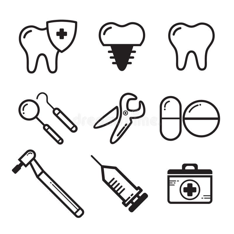 Vettore dentario lineare stabilito di medichine per l'icona del sito Web illustrazione vettoriale