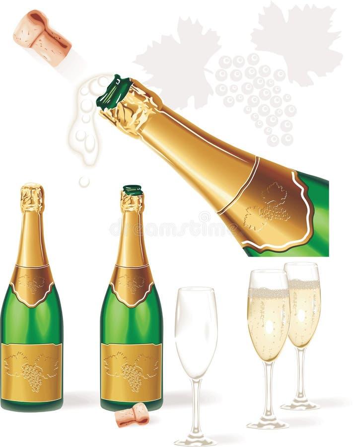 Vettore dettagliato. Bottiglia di Champagne, vetri, sughero illustrazione vettoriale