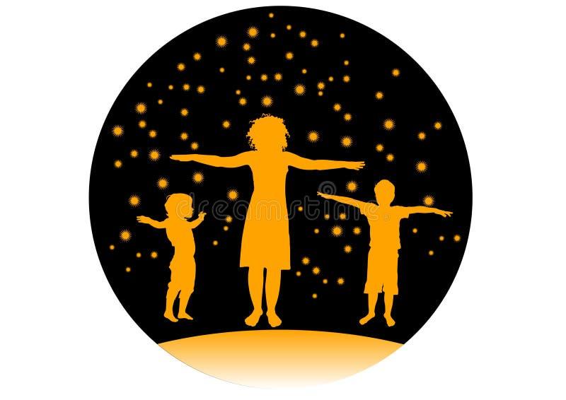 Vettore di addestramento di sport dei bambini e della madre royalty illustrazione gratis