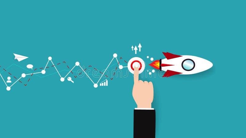 Vettore di affari, aereo di carta con il ripetitore del bottone da saettare in alto, pianamente illustrazione di stock