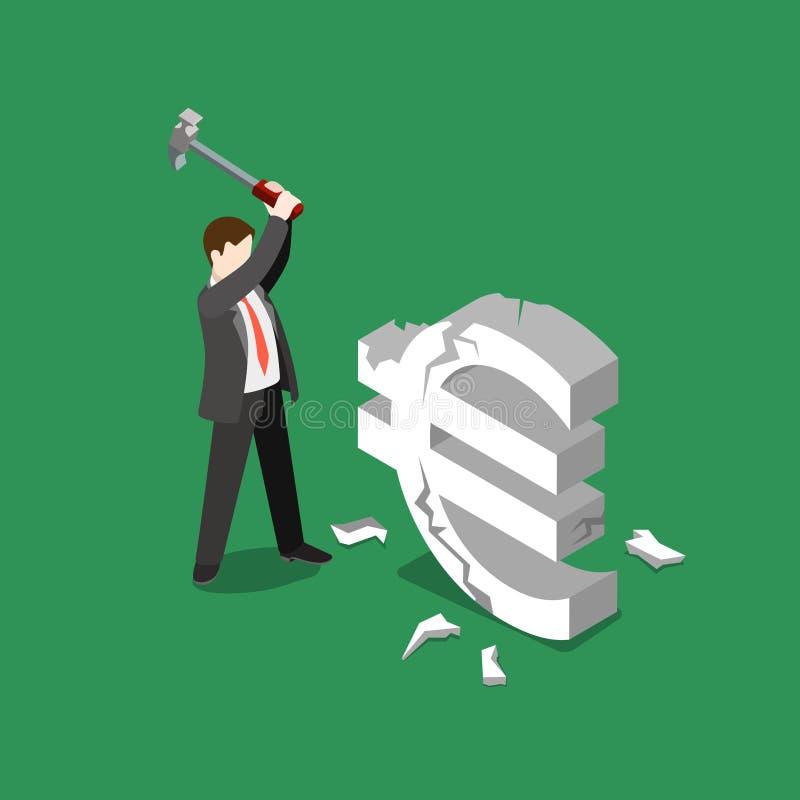 Vettore di affari di caduta di EURO tasso di cambio pianamente isometrico illustrazione vettoriale