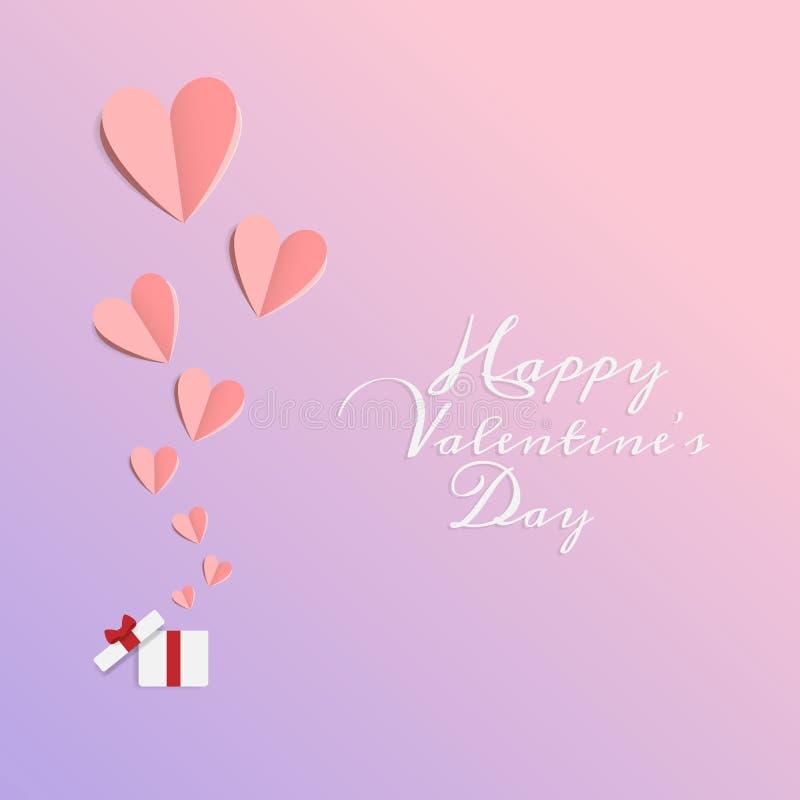 Vettore di amore e del giorno di biglietti di S. Valentino felice gli origami progettano gli elementi la carta del taglio che ha  illustrazione di stock