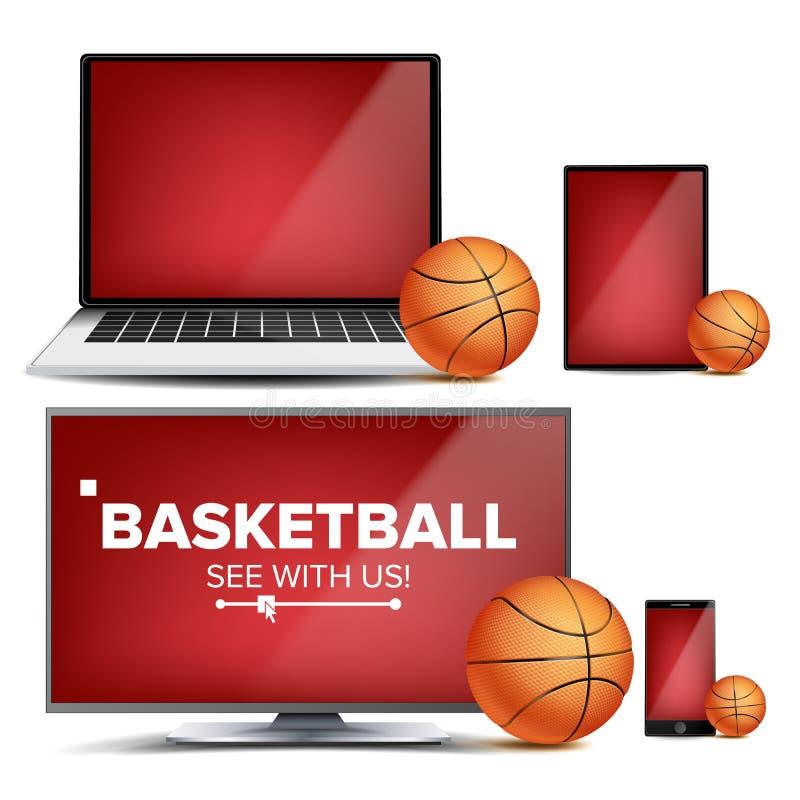 Vettore di applicazione di pallacanestro Campo, palla di pallacanestro Corrente online, allibratore, gioco App di sport Elemento  illustrazione vettoriale