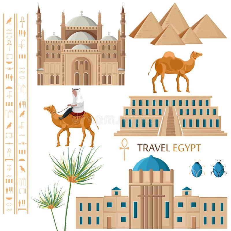 Vettore di architettura dell'Egitto e dell'insieme di elementi di simbolo Architettura famosa della città, cammello, palma e stil royalty illustrazione gratis