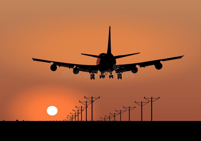 Vettore di atterraggio di aeroplano di tramonto illustrazione di stock