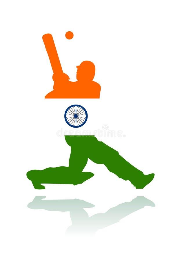 Vettore di azione del giocatore del grillo dell'India illustrazione vettoriale