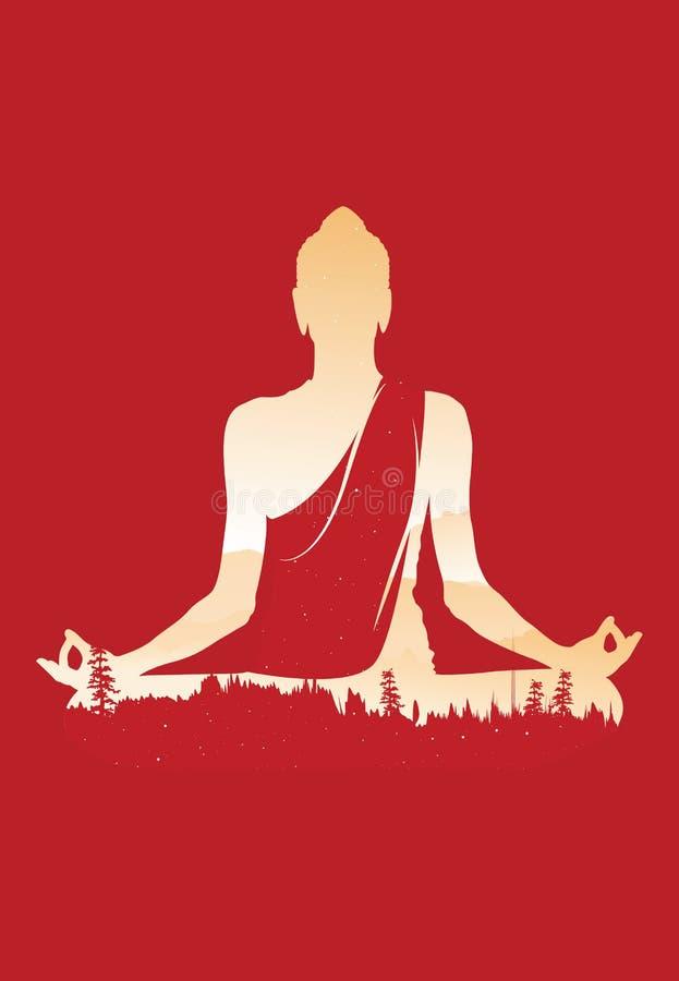 Vettore di Buddha, Buddha astratto su fondo rosso, Buddha e natura, fondo di meditazione illustrazione vettoriale