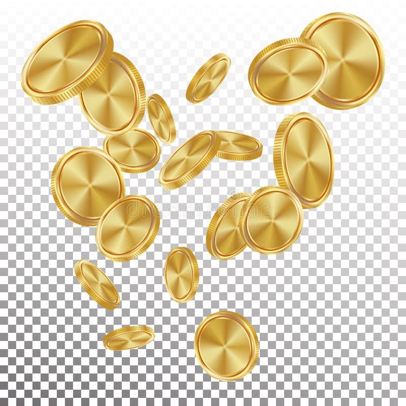 Vettore di caduta delle monete di oro Esplosione dorata realistica volante delle monete Priorità bassa trasparente Fortuna del pr royalty illustrazione gratis