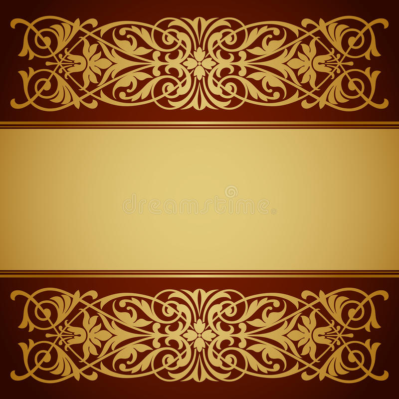 Vettore di calligrafia del fondo dell'oro del blocco per grafici del confine dell'annata illustrazione di stock