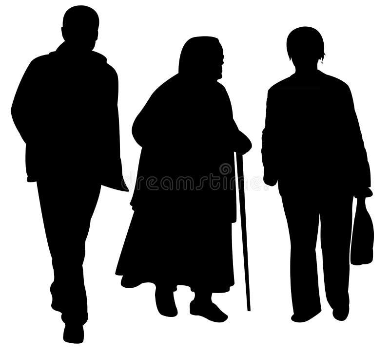 Vettore di camminata della siluetta della famiglia royalty illustrazione gratis