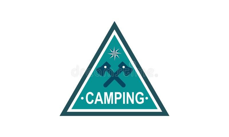 Vettore di campeggio di logo dell'emblema del campo illustrazione di stock