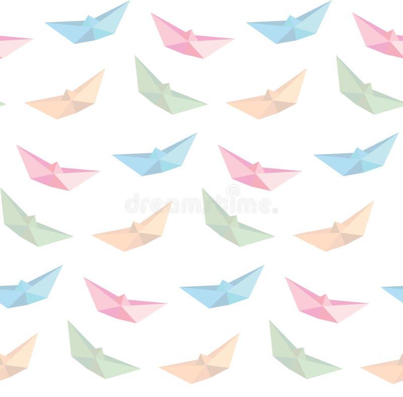 Vettore di carta piegante della barca, origami, fondo senza cuciture royalty illustrazione gratis