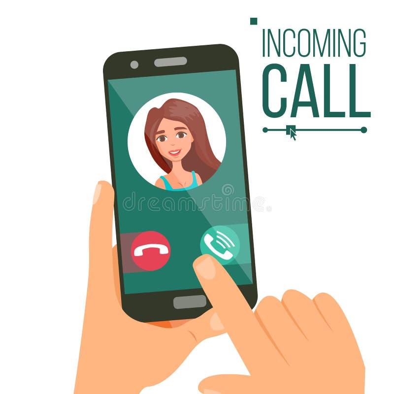 Vettore di chiamata in arrivo Fronte della donna sullo schermo mobile di Smartphone Chiamata dell'interfaccia di applicazione Con illustrazione vettoriale