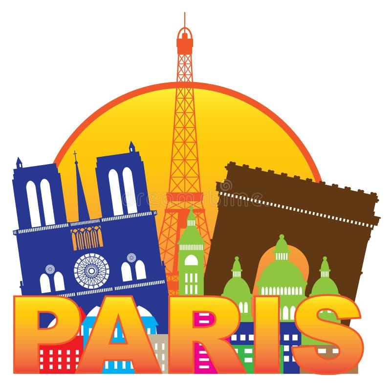 Vettore di colore del cerchio della siluetta dell'orizzonte della città di Parigi royalty illustrazione gratis