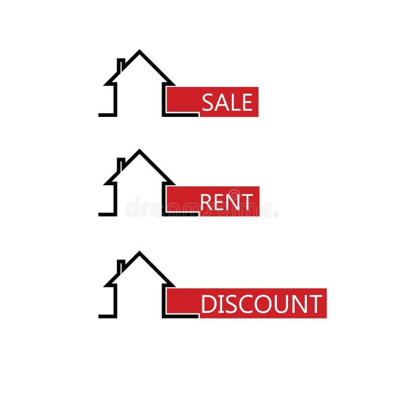 Vettore di colore della casa in affitto di vendita illustrazione vettoriale