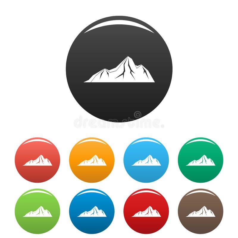 Vettore di colore fissato icone alte della montagna illustrazione di stock