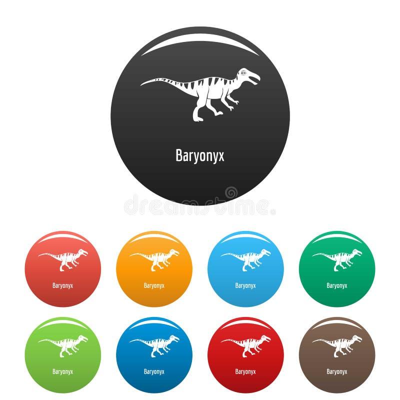 Vettore di colore fissato icone di Baryonyx royalty illustrazione gratis