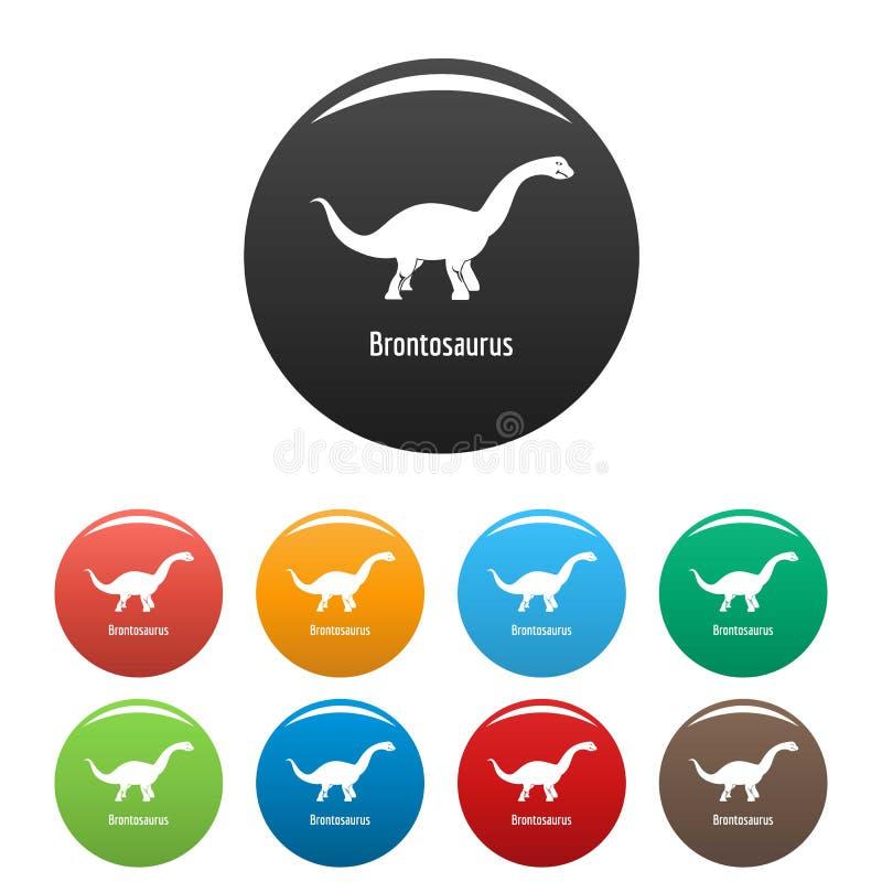 Vettore di colore fissato icone del brontosauro illustrazione vettoriale