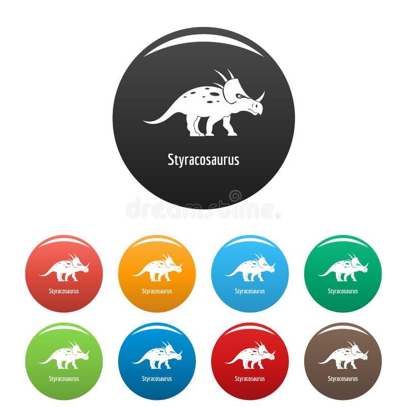 Vettore di colore fissato icone dello Styracosaurus illustrazione vettoriale