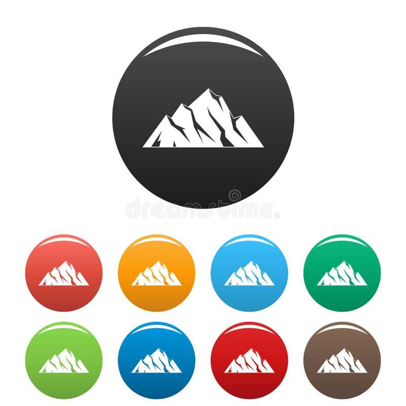 Vettore di colore fissato icone estreme della montagna royalty illustrazione gratis