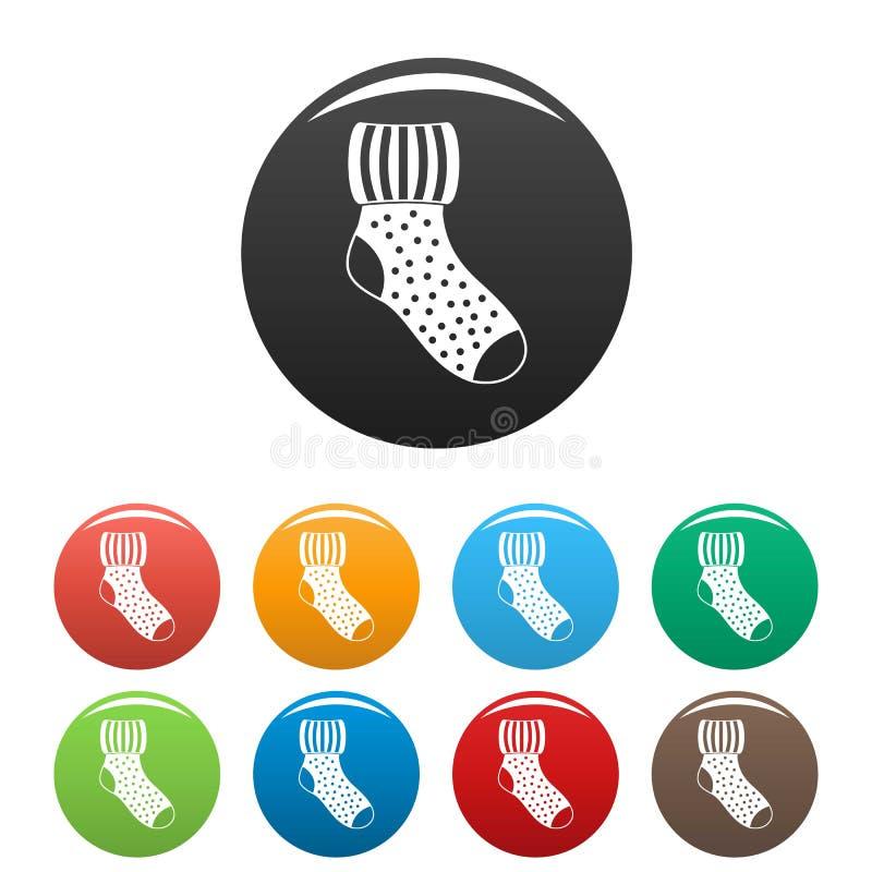 Vettore di colore fissato icone di lana del calzino illustrazione di stock