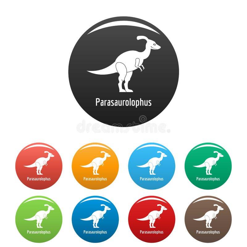 Vettore di colore fissato icone di Parasaurolophus illustrazione di stock