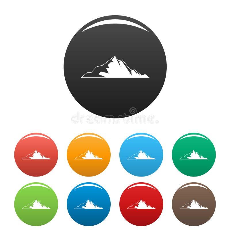 Vettore di colore fissato icone piacevoli della montagna illustrazione vettoriale