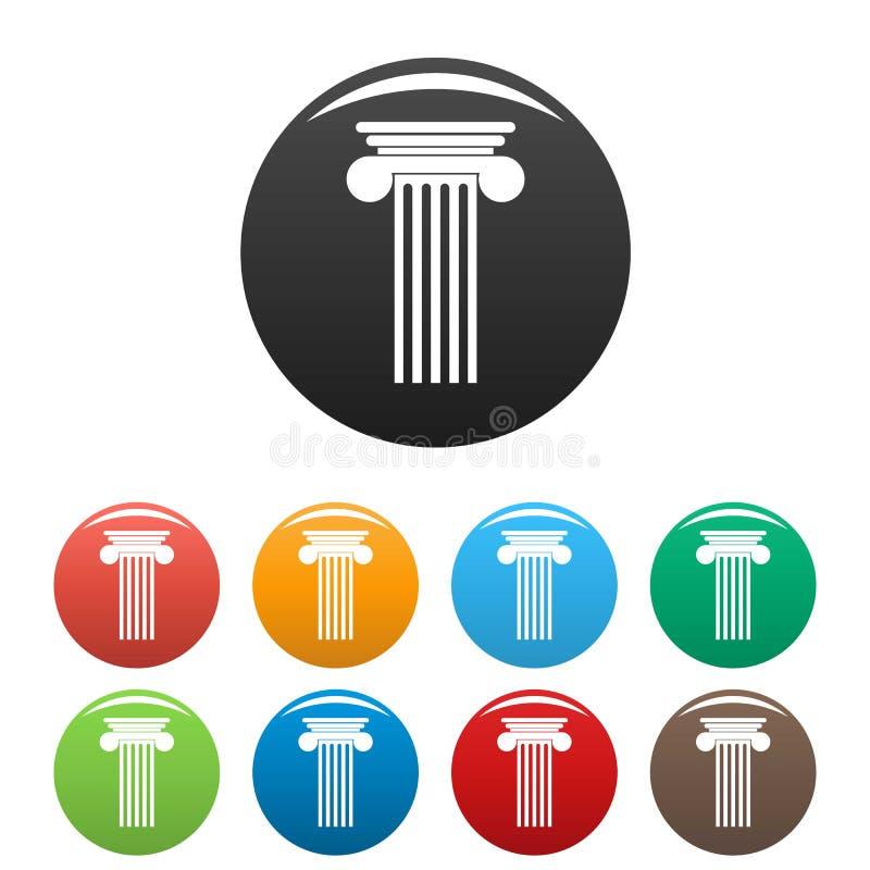 Vettore di colore fissato icone Polyhedral della colonna illustrazione di stock