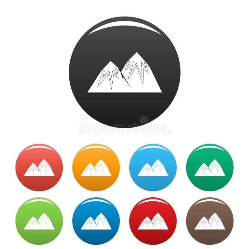 Vettore di colore fissato icone di punta della neve illustrazione vettoriale