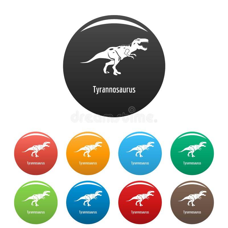 Vettore di colore fissato icone di tirannosauro illustrazione di stock