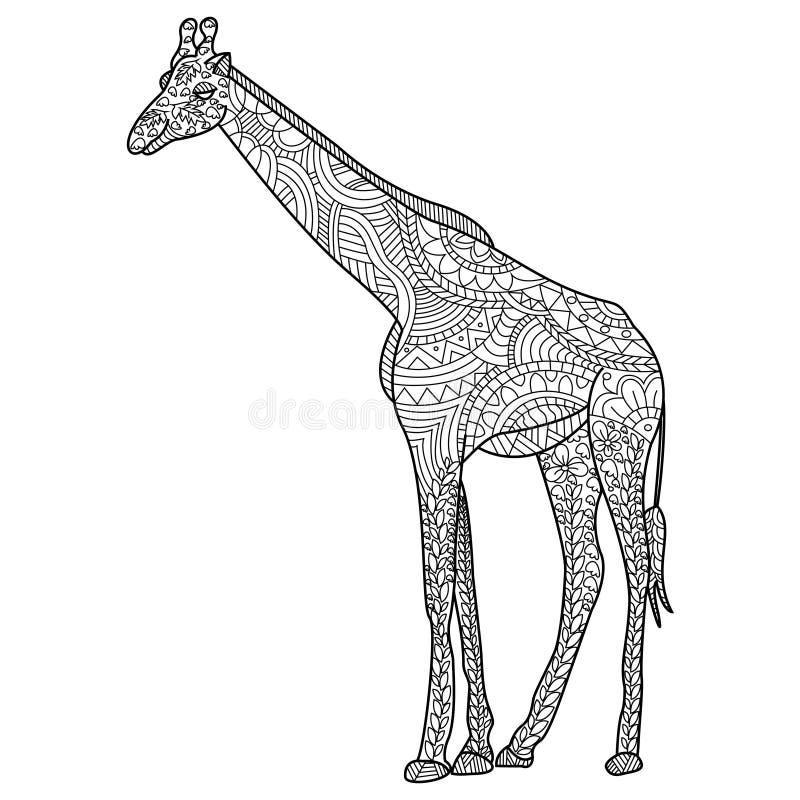 Vettore di coloritura della giraffa per gli adulti illustrazione vettoriale