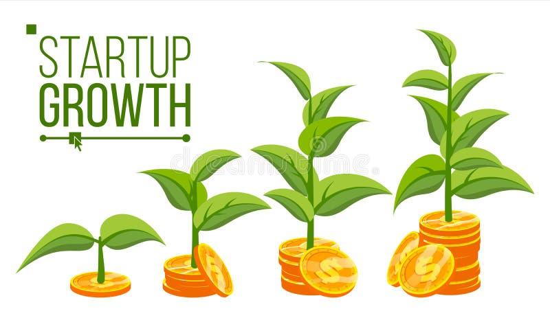 Vettore di concetto di crescita di affari Albero che cresce sulle monete Success Company Monete dei soldi della pila Fumetto pian illustrazione vettoriale