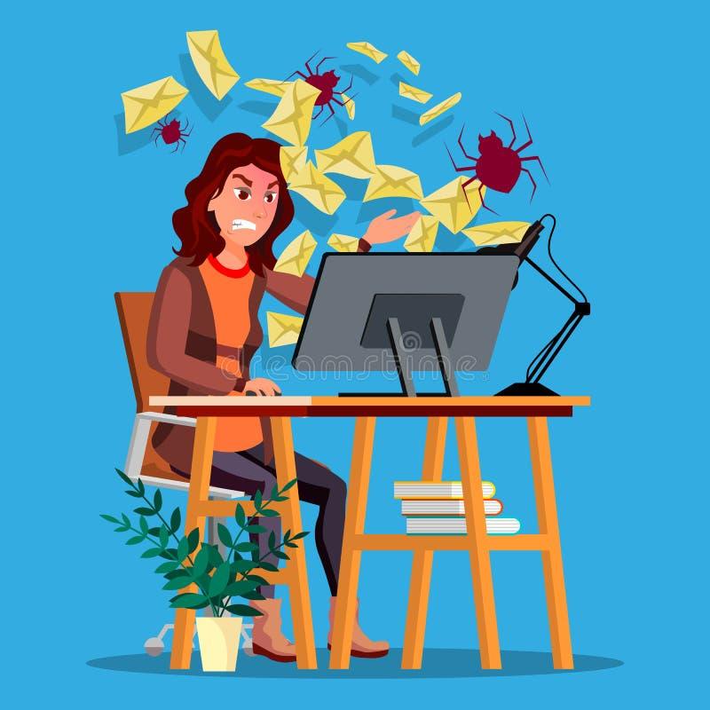 Vettore di concetto del virus dello Spam Donna Tecnologia del Internet Attacco online della posta Informazioni dell'incisione Cri royalty illustrazione gratis