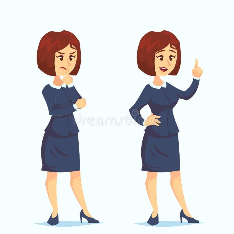 Vettore di concetto di problema Donna di pensiero Soluzione dei problemi Problema di decisione, risolvente processo Grande proble royalty illustrazione gratis