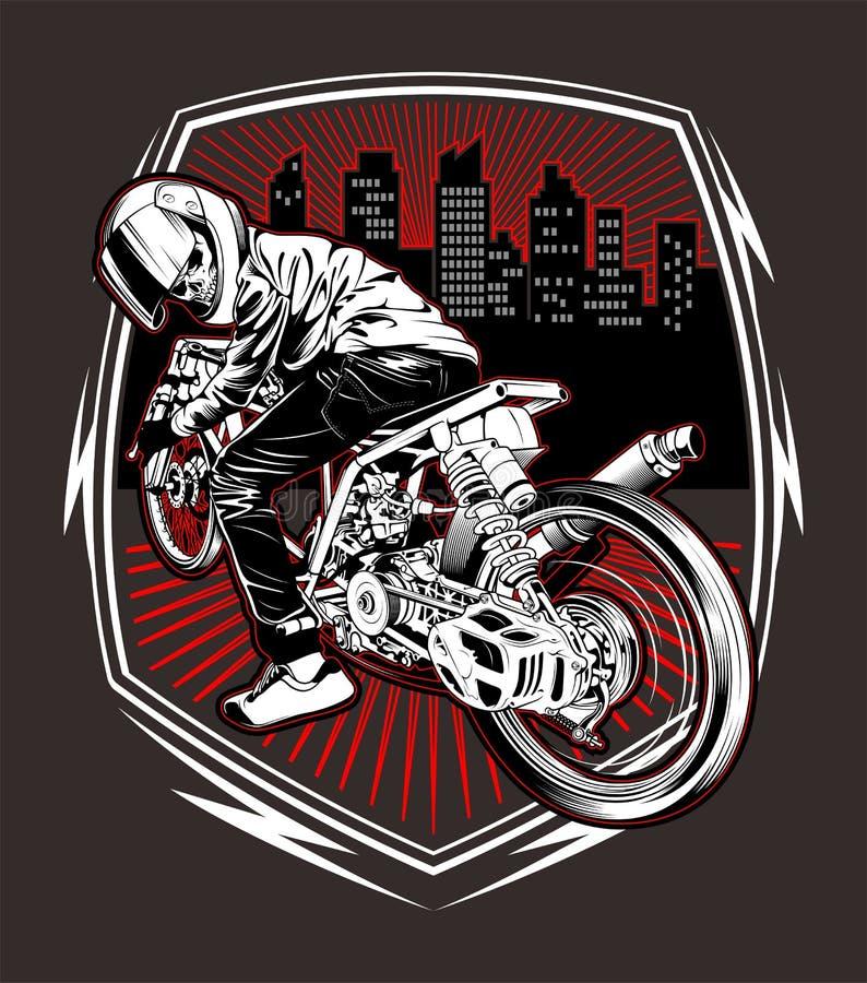 Vettore di corsa del disegno della mano del motociclo del cranio royalty illustrazione gratis
