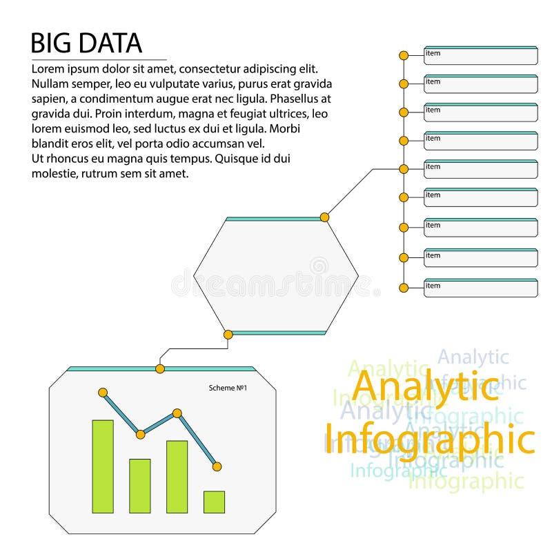 Vettore di dati degli elementi di Infographic di analisi dei dati grande royalty illustrazione gratis