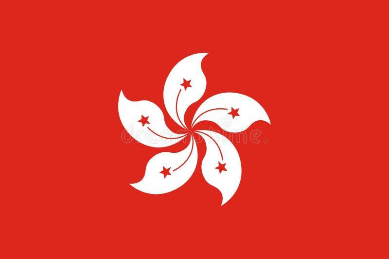 Vettore di dimensione originale della bandiera nazionale di Hong Kong illustrazione vettoriale