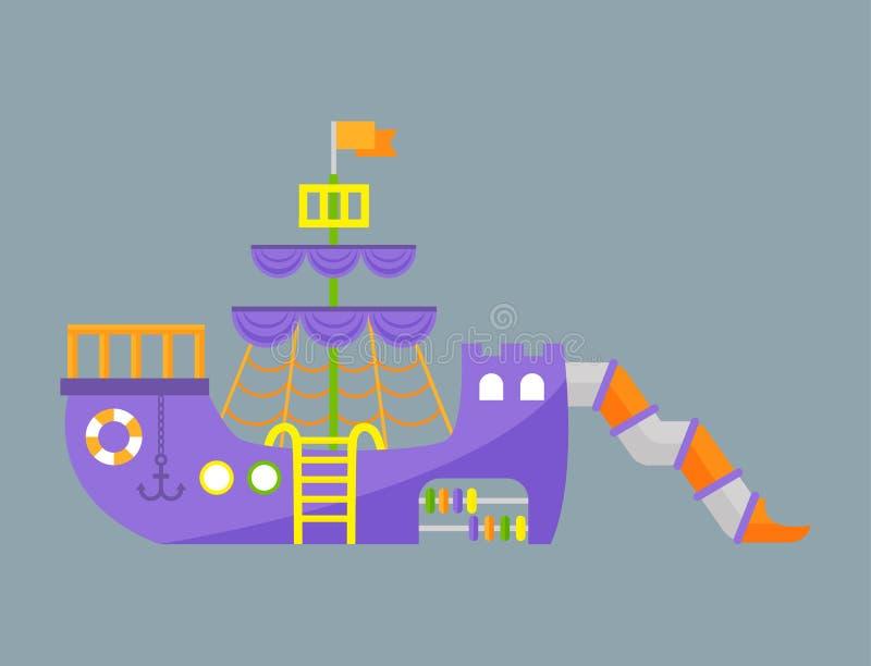 Vettore di divertimento di asilo del giocattolo dell'attrezzatura dell'oscillazione di ricreazione del posto di attività del parc illustrazione di stock