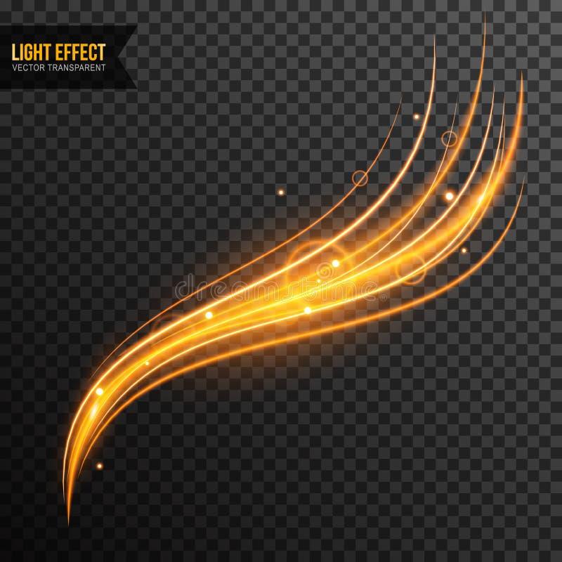 Vettore di effetto della luce trasparente con la linea turbinio e scintille dorate royalty illustrazione gratis