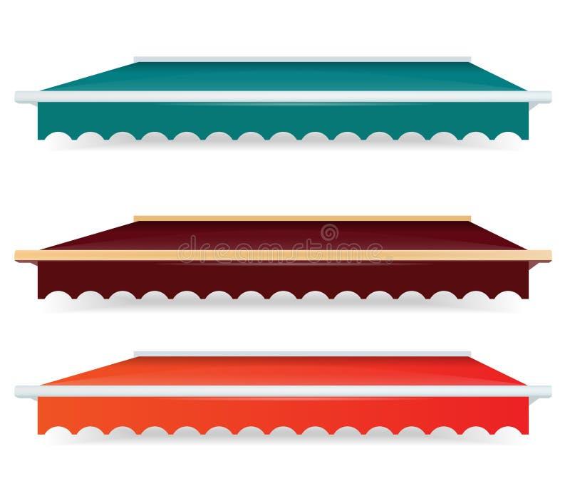 Insieme variopinto di singole tende di colore illustrazione vettoriale