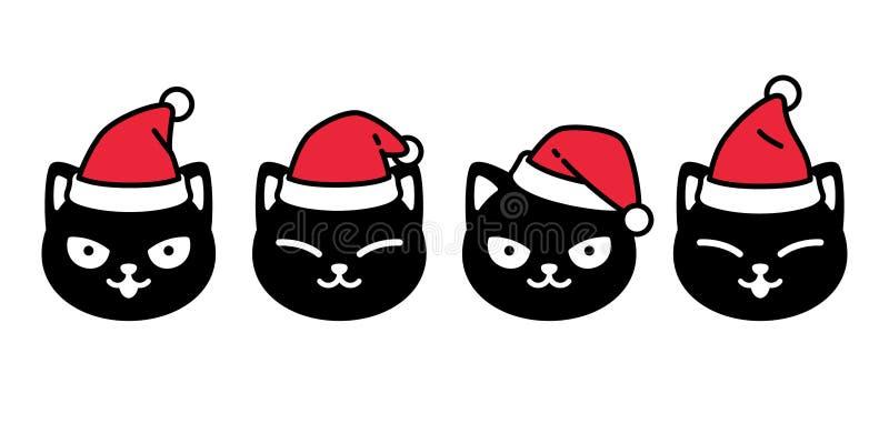 Vettore di gatta Icona di Natale Santa Claus kitten testa di gattino Logo di cartoni animati Disegno illustrativo illustrazione di stock