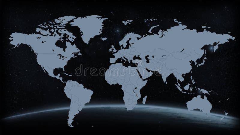 Vettore di gray del nero della mappa della terra del mondo fotografia stock libera da diritti